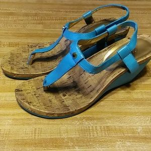 Chaps turquoise wedge sandals size 10